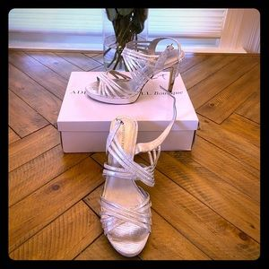 Adrianna Pappell Silver Strappy Heels